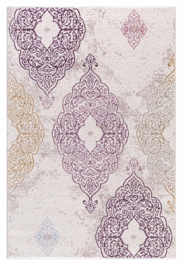 Beige Purple Gold Damask Carpet Transitional Discount Area Rugs 5x8 8x11 - Bargain Area Rugs