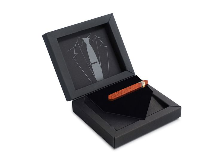 Зажим для галстука ТВИД2 от БАГ из дерева | Серый дуб / Клён / Красное дерево - Махагон