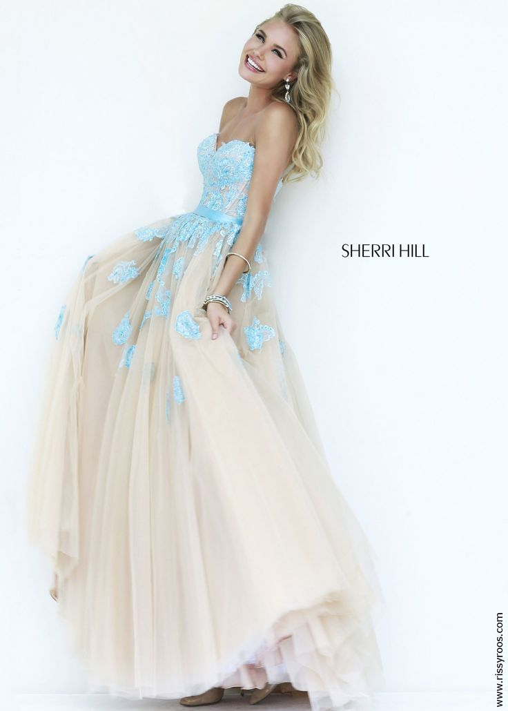 sherri hill 11200 elegant lace ball gown in light blue and