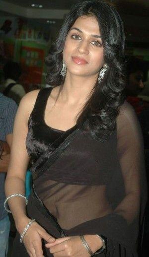 telugu actress Shraddha Das Navel Show in Transparent Black Saree-1 cleavage pics... exposing herself