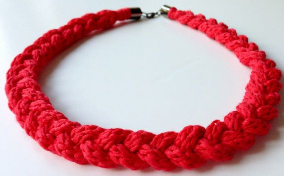 Frenchknit yarn plaited necklace  Coral by BlueBlueElectricBlue, £10.49
