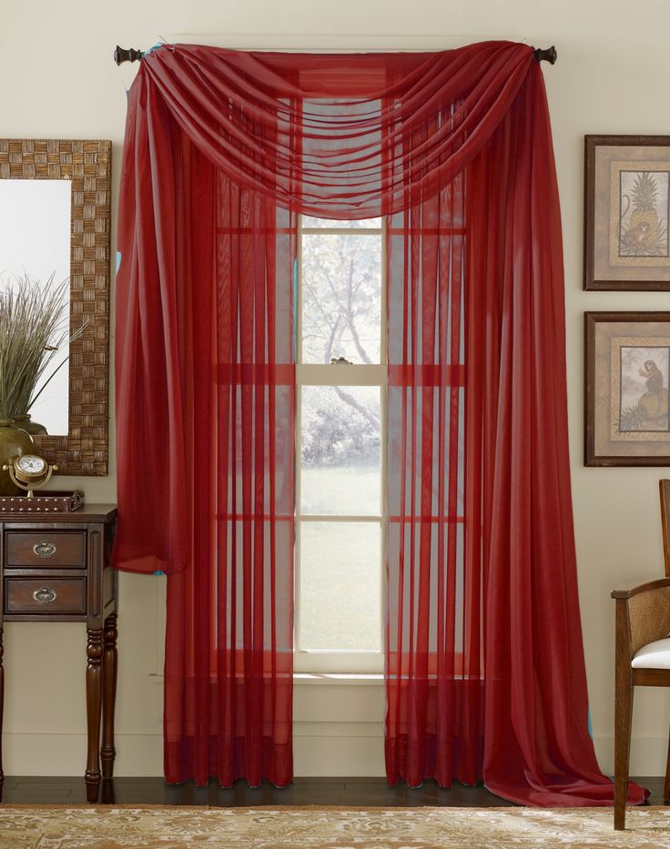 Red Sheer Curtain Scarf (outer layer). This is what I had in mind exactly. Is the red too bold though? Would something simpler ( ie white with little red flora print) be better?