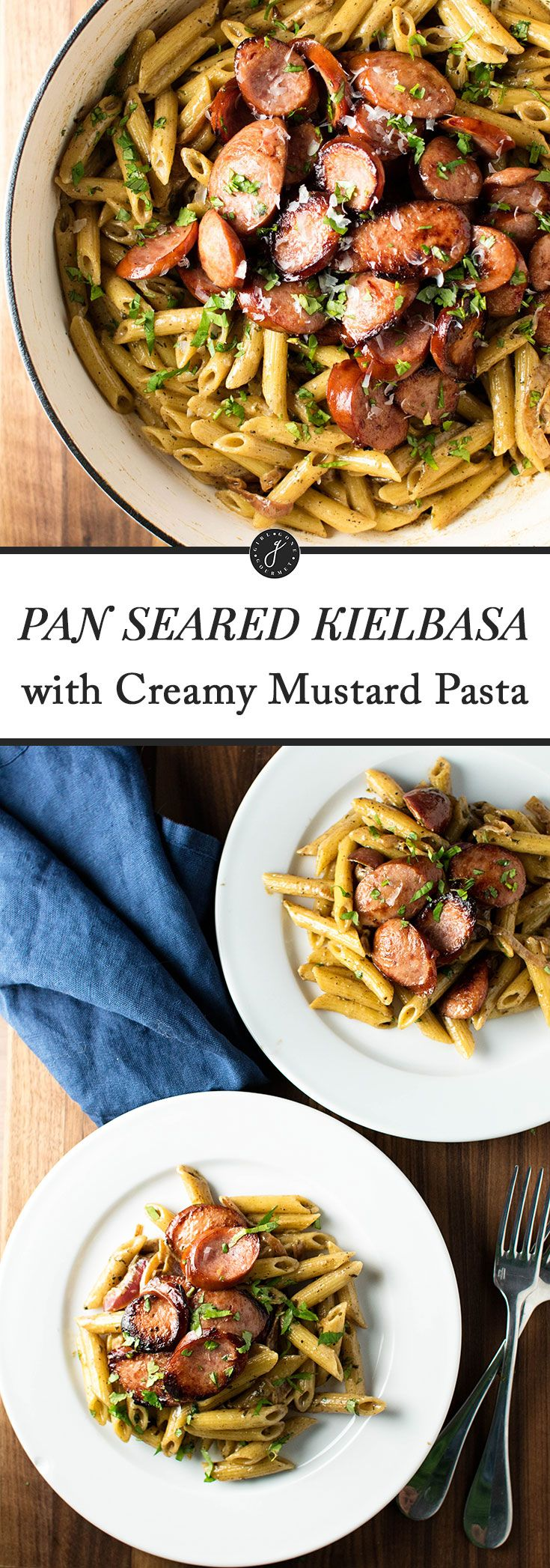 Pan seared kielbasa with a creamy mustard pasta made with white wine, butter, cream, and Parmesan cheese | girlgonegourmet.com via @april7116