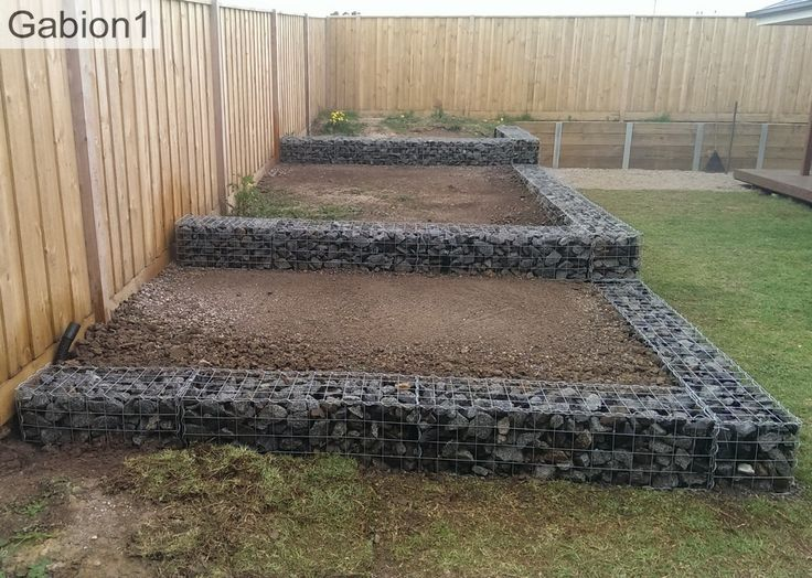 stepped gabion retaining walls ready for planting http