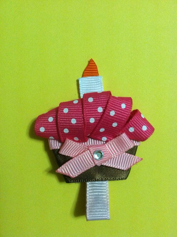 Cupcake ribbon sculpture hair clip on Etsy, $3.00