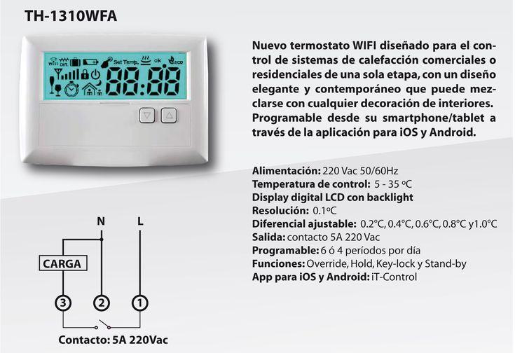 Termostato Wifi, para Caldera ,Calefacción de una sola etapa(de muy buena estética para uso domiciliario,Hoteles, Departamentos Comercio).