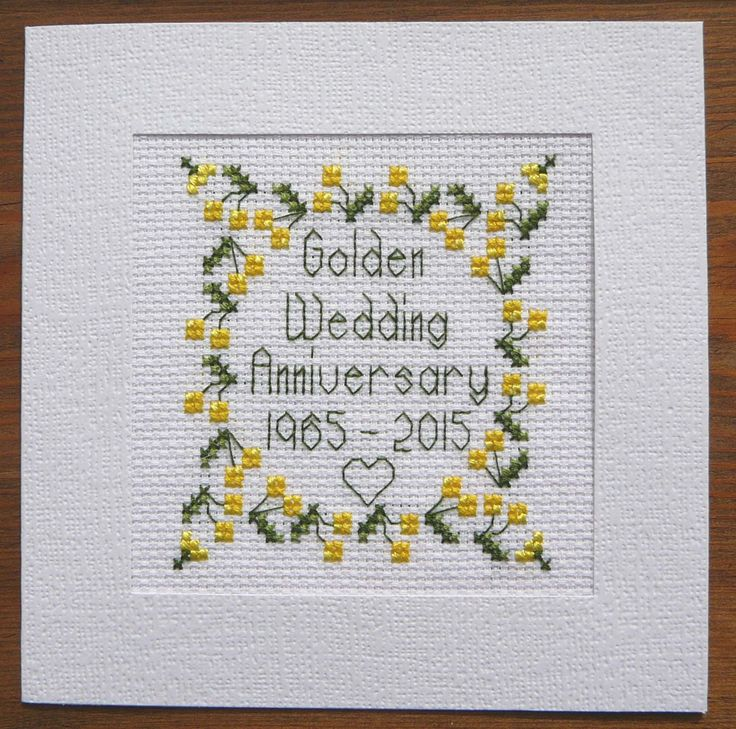 50th Golden Wedding Anniversary Card, Cross Stitch Kit 100% cotton Adia L011 | eBay