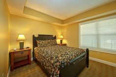 This roomy 2 bedroom and 2 bath Pigeon Forge condo offers guests one king-size master suite with an in-room whirlpool tub and private balcony, a queen suite with private bath, and a queen-size sleeper sofa.