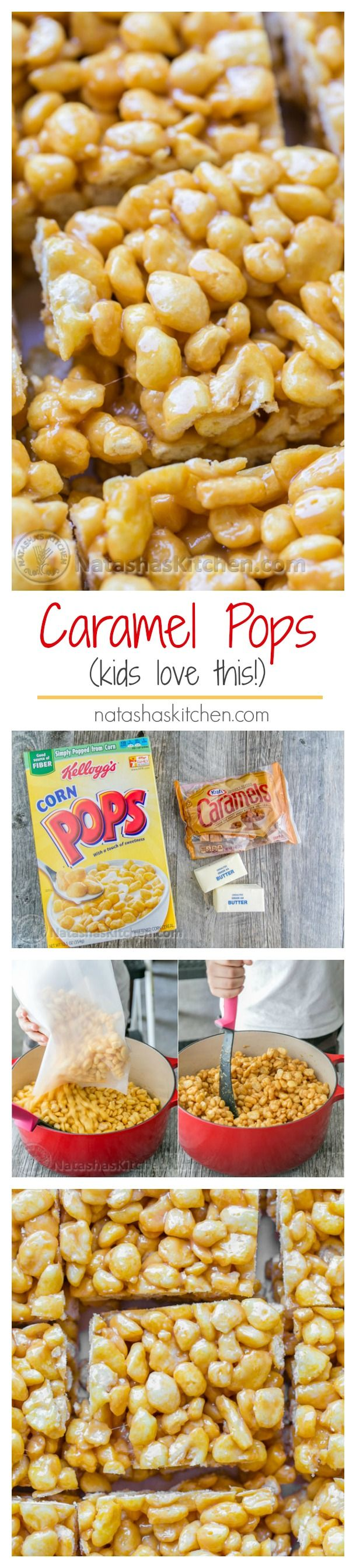 Caramel Corn Pops Treats - Kids love this dessert!! All you need is 3 main ingredients and 10 minutes. | NatashasKitchen.com