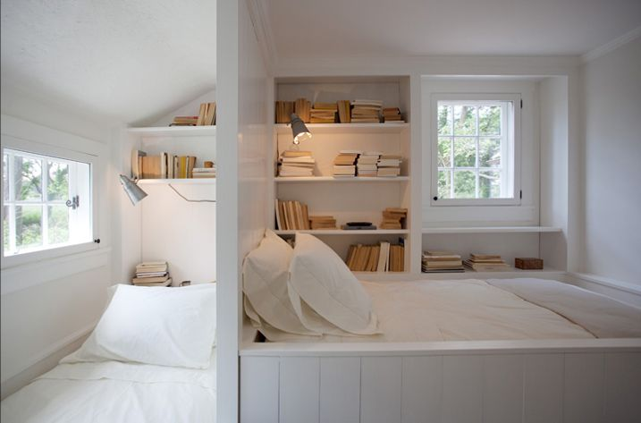 """Brilliant idea! Fit two bedrooms into one. Great for multi-family rentals or separating girls spaces from boy's. Just make sure each area has a window to avoid claustrophobia. Adding curtains will make it even more private. People like to sleep in niches; it makes them feel safe and """"tucked in."""" Space by Darryl Carter."""