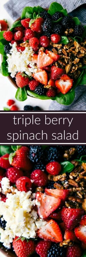 Triple Berry Spinach Salad with Candied Pecans by milagros