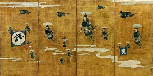 """Hovering Men by Noguchi Tetsuya Tetsuya uses the image of the samurai, as well as techniques that emulate traditional Japanese media.  The resulting works offer alternative perspectives on the """"image"""" of the samurai warrior"""