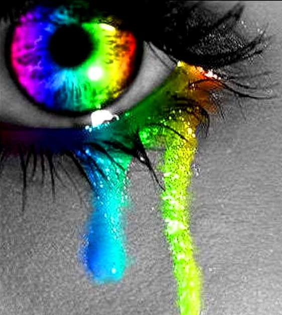 ❖de l'arc-en-ciel❖❶ Rainbow colors tears eye color splash