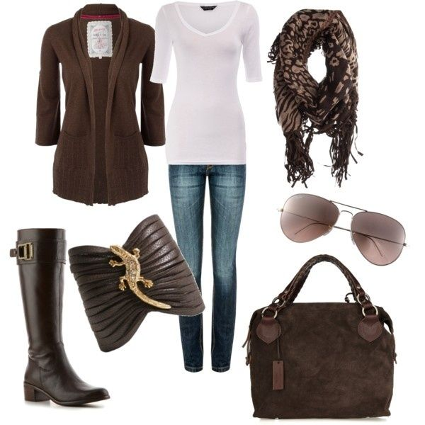 Chocolate... outfits-outfits-outfits: Style, Bracelets, Color, Jeans, Fall Looks, Fall Outfits, Leather Cuffs, Chocolates Brown, Boots