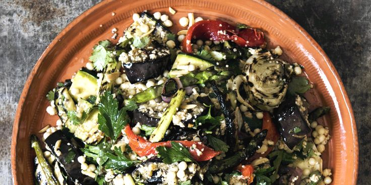 Chargrilled Vegetable Salad with Cous Cous Spiced Yoghurt and Almonds via @iquitsugar