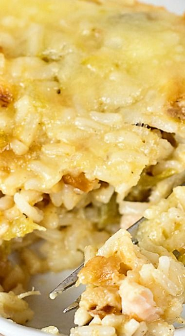 Easy and Cheesy- Green Chile, Chicken and Rice Casserole ~ Spicy and hearty