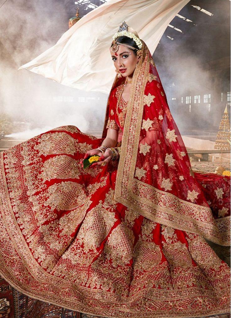 Velvet Patch Border Red Bridal Lehenga choli