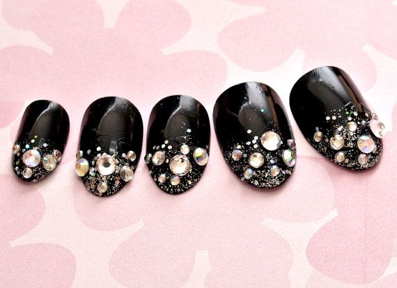 Nails bling rock glam black silver glitters pointed by Aya1gou, $20.00