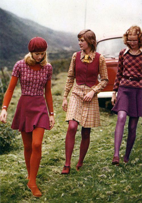 Vibrant, eye-catchingly fun 1970s fashions (the Kool-Aid hued tights are fantastic!). #1970s #fashion #clothing #vintage #retro #pink #purple #orange