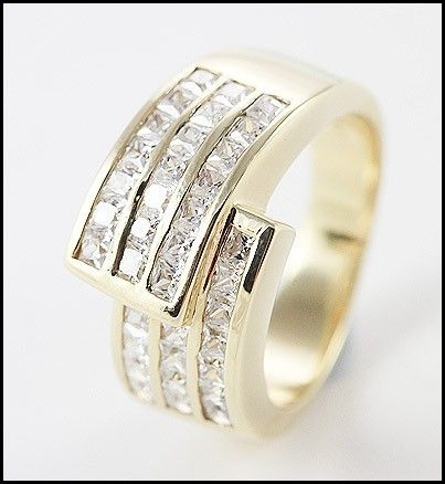Solid 9 Ct Gold With 56 Simulated Diamonds Unisex Ring. A large wonderful Ring, suitable for Ladies or Men encrusted with high quality simulated Diamonds.