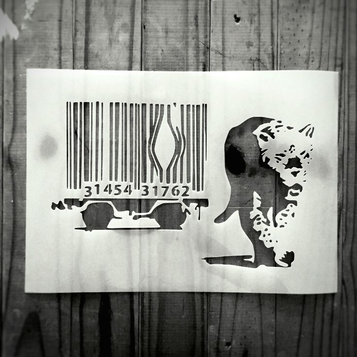 Banksy Bar Code Leopard stencil from CreateCuts
