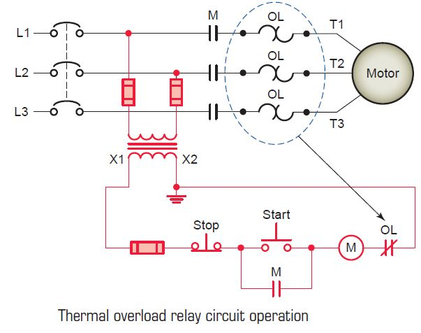 thermal overload relay circuit operation tech. Black Bedroom Furniture Sets. Home Design Ideas