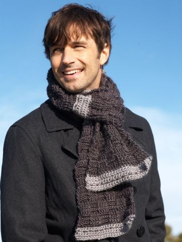 Free Pattern - A rugged weave pattern makes this #crochet scarf a great choice for the stylish guys in your life.