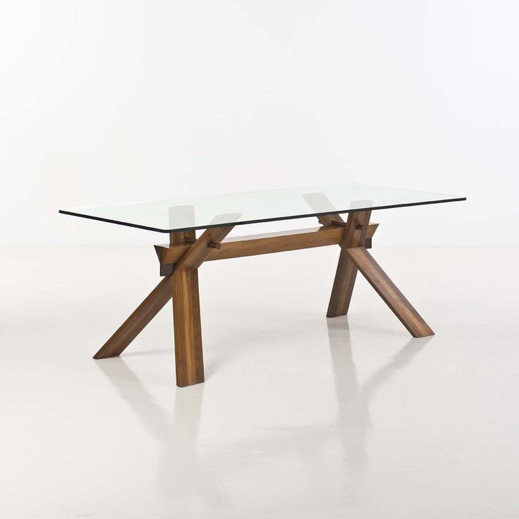 Achille Castiglioni; Wood and Glass Dining Table, c1970.