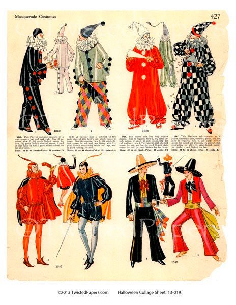 1920s halloween masquerade costume party illustrations evil count spanish dancer clown pierrot - Masquerade Costumes Halloween