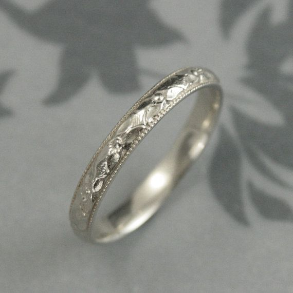 Women's White Gold Wedding Band--Renaissance Band--Vintage Style Pattern with Milgrain Edge--Orange Blossom Design--Hand Cast in Our Studio