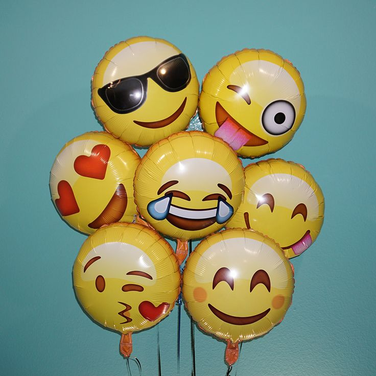 """18"""" Emoji 7 Pack (Variety) It's party time with these emoji helium balloons!! Guaranteed to liven up any social event, and bring smiles and laughs, emoji balloons will be a big hit. These balloons are"""