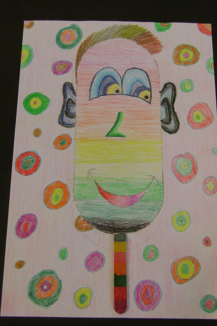 IJsjes ontwerpen; kleurpotlood, papier en ijsstokje