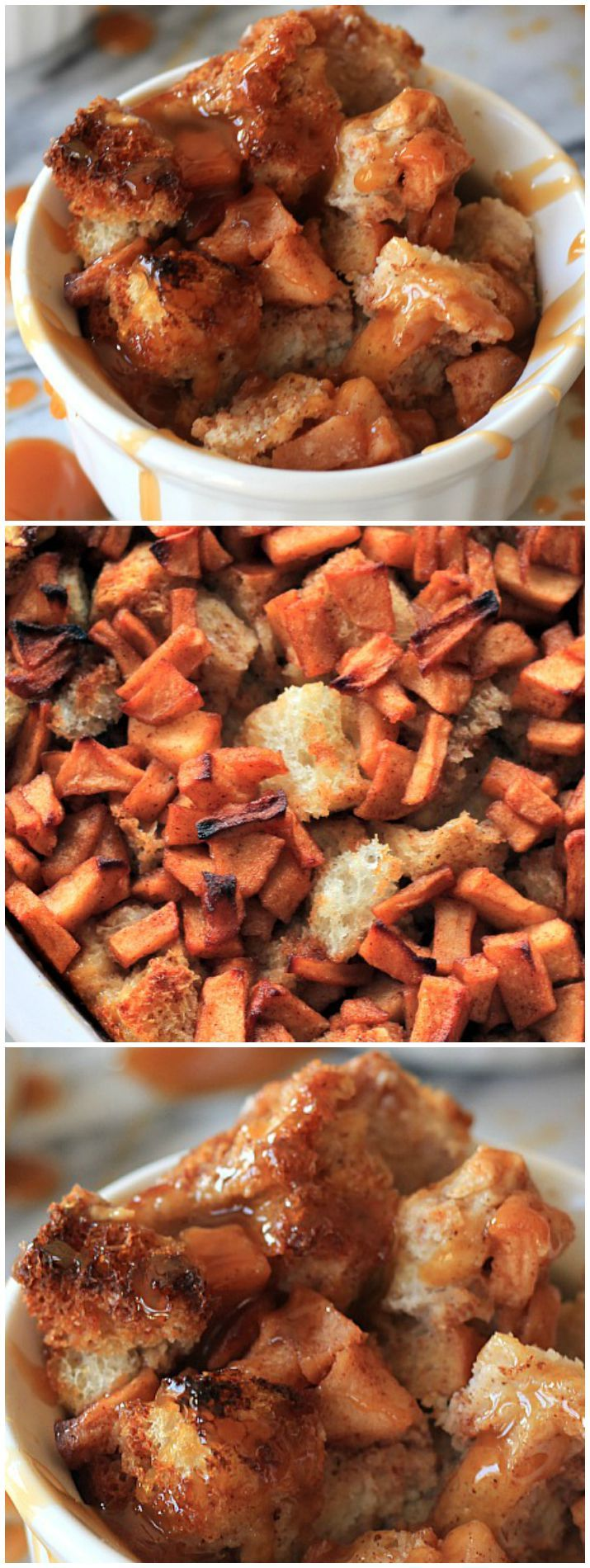 This Apple Cinnamon Bread Pudding with Caramel Sauce Drizzle will blow your mind!! Anything that you can have as dessert of breakfast is sure to be a kid favorite! | joyfulhealthyeats.com