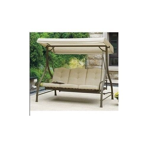 Patio Swing Set Outdoor Furniture Canopy Hammock Tan 3 Seats Durable Reversable