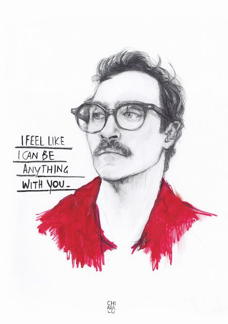 HER > Joaquin Phoenix Graphite + acylic Poster art illustration