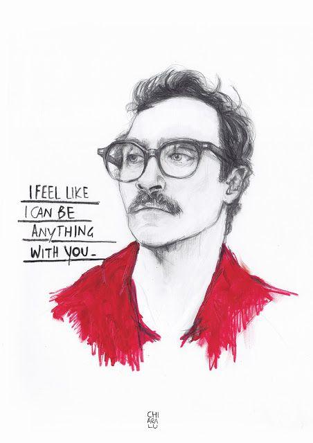 HER > Joaquin Phoenix Graphite + acylic Poster art illustration