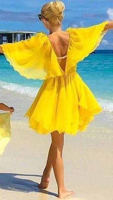 #summer #popular #outfits |  Yellow Beach Dress