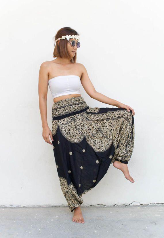 Vrouwen Thaise Harem broek Jumpsuit - verloren gegane Kruis broek Parachute broek Boheemse broek Yoga broek Genie broek Aladdin broeken Festival broek