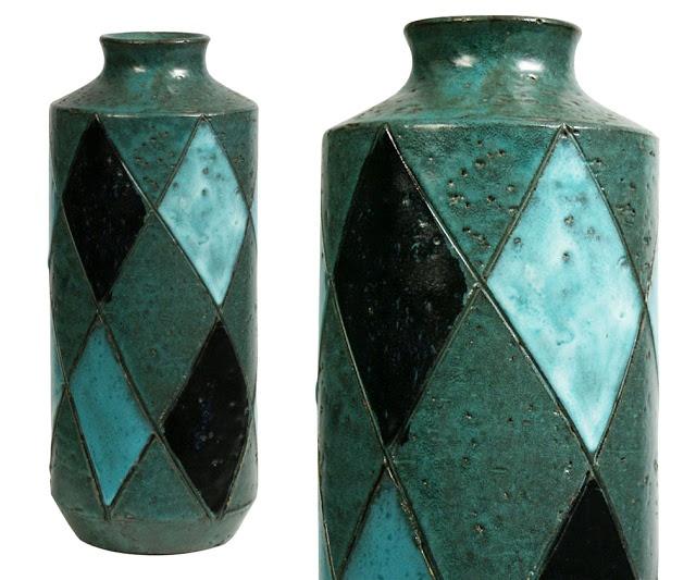 """Bitossi, c. 1960, argyle vase marked 2796, 10"""" tall."""