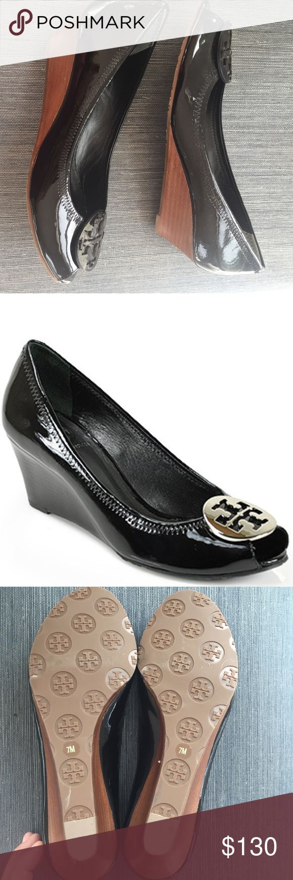🎉TORY BURCH🎉 Sally Patent Peep Toe Wedge Tory Burch Sally patent black peep toe wedge had ballet construction with a little lift. Tonal patent Tory emblem is subtle but just the right amount of sophistication. NEVER WORN BRAND NEW. Make them yours!! Tory Burch Shoes Wedges