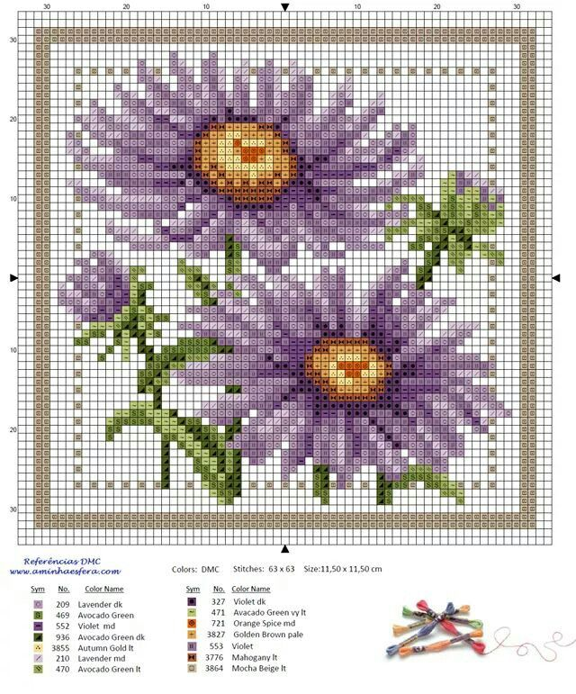 Wildflowers asters cross stitch.