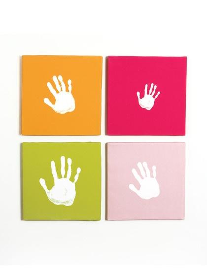 Canvas Handprint Set by Pearhead on Gilt - what a fun idea for the family!: Wall Art, Idea, Craft, Canvas Handprint, Baby, Kids, Handprint Set, Canvases