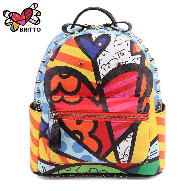 Ромеро Бритто 2017 Лидер продаж Новый женский мультфильм граффити Рюкзаки Школьные сумки дорожные заклепками женская мода рюкзак купить на AliExpress