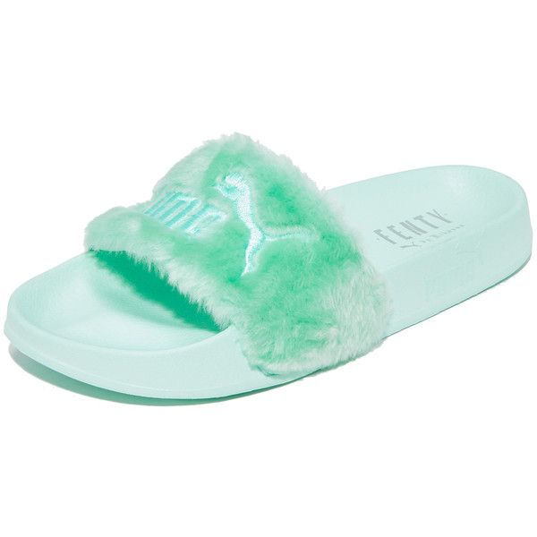 PUMA FENTY x PUMA Faux Fur Slides ($91) ❤ liked on Polyvore featuring shoes, embroidered shoes, lightweight shoes, light weight shoes, logo shoes and faux fur shoes