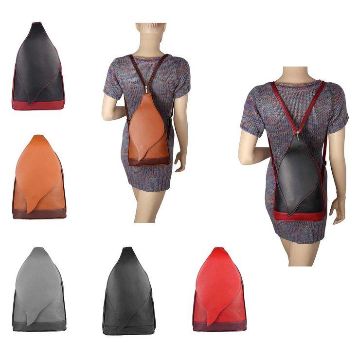 OBC Made in Italy DAMEN echt Leder RUCKSACK Lederrucksack Tasche Schultertasche Ledertasche Nappaleder Handtasche – Bücher Box