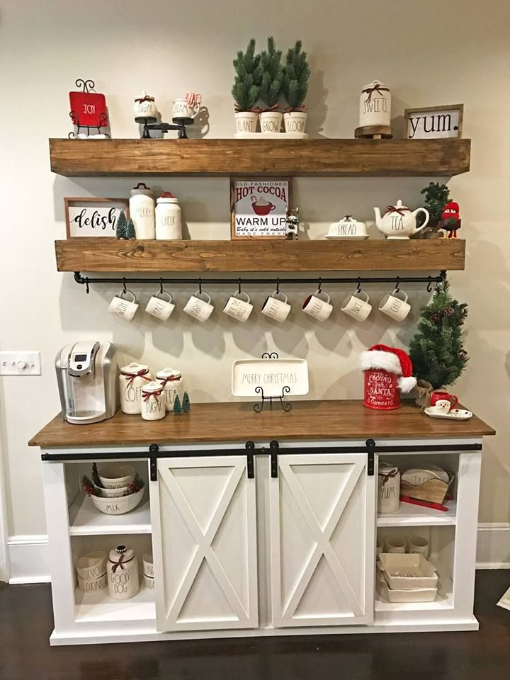 Sideboard Coffee Buffet & Floating Shelves By Anna White
