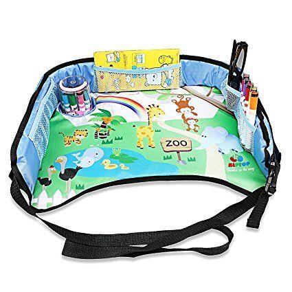 Bandeja de viaje para niños de KIPTOP Bandeja de juego para niños para bocadillos en el Tren / autobús / automóviles y viajes en avión, Asiento de coche de niño bandeja, Conduciendo con niños, Bandeja de juegos para sillas de niños (Azul)