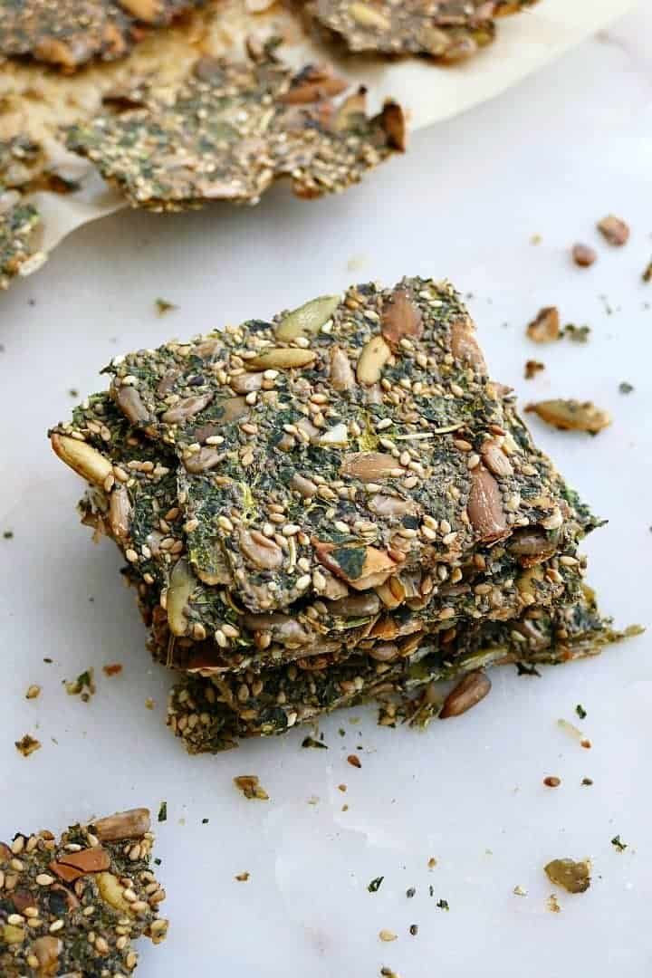 Healthy Homemade Seed And Kale Crackers Recipe In 2020 Plant Based Snacks Vegan Recipes Plant Based Savory Snacks