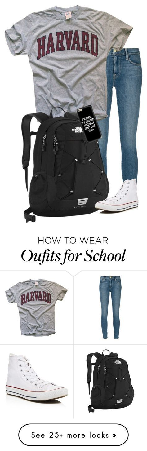 """""""School """" by mpickett17 on Polyvore featuring Frame Denim, The North Face, Converse and Casetify"""