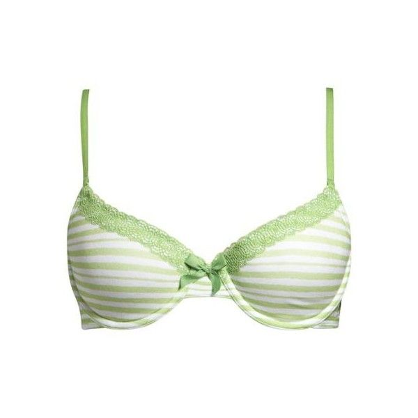 Women's Hannah Painted Stripe Bra (Grasshopper) ($20) ❤ liked on Polyvore featuring intimates, bras, underwear, lingerie, undies, clothing & accessories, underwear & socks, demi cup bra, bow bra and aerie lingerie